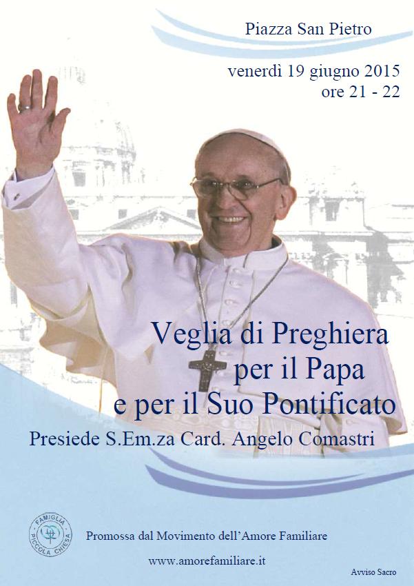 Veglia di preghiera per il Papa 2015