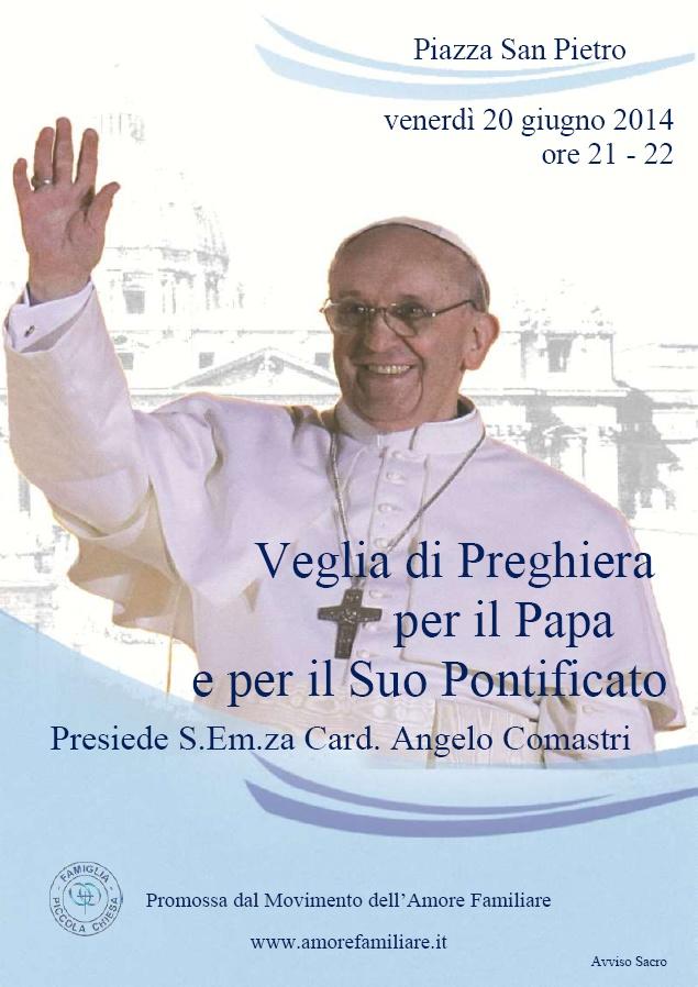 volantino veglia preghiera papa 2014